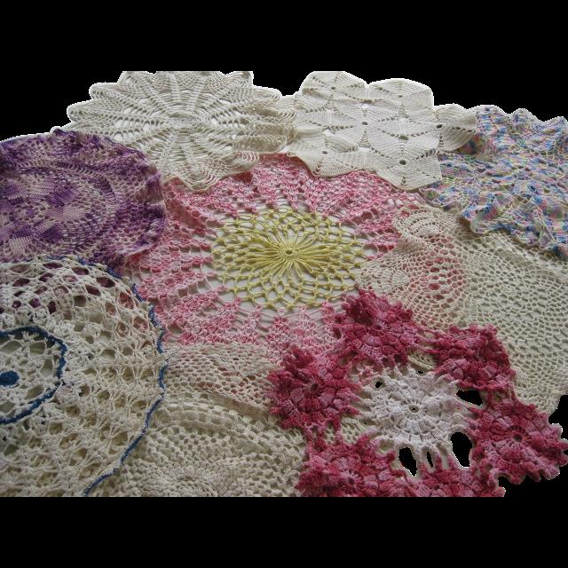 Nine Vintage Handmade Crocheted Circular Doilies
