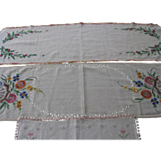Three Embroidered Dresser Scarfs with Crocheted Edges