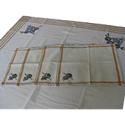 Art Deco Style Small Rectangular Tablecloth with Four Napkins