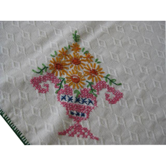 Hand Embroidered Small Rectangular Tablecloth