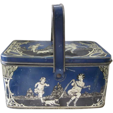 Lithographed Tin Child's Lunch Box from Early 1900's