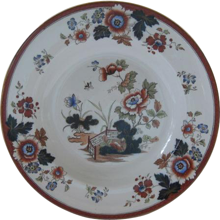 "Set of Six Wedgwood Etruria England 10"" Bowls Pattern ""Eastern Flowers"""