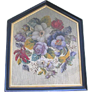 Late 1800's Mix Embroidery Needlepoint Work of Art ~ Professionally Framed
