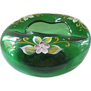 Vintage Bohemian Glass Ashtray ~ Deep Green Color