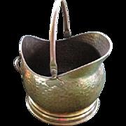 Vintage Hammered Brass Coal Bucket