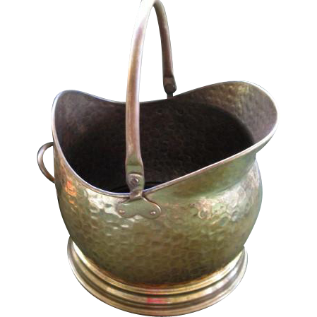 Vintage Hammered Brass Coal Bucket