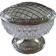 Silverplate and Crystal Glass Round Vase with Flower Frog