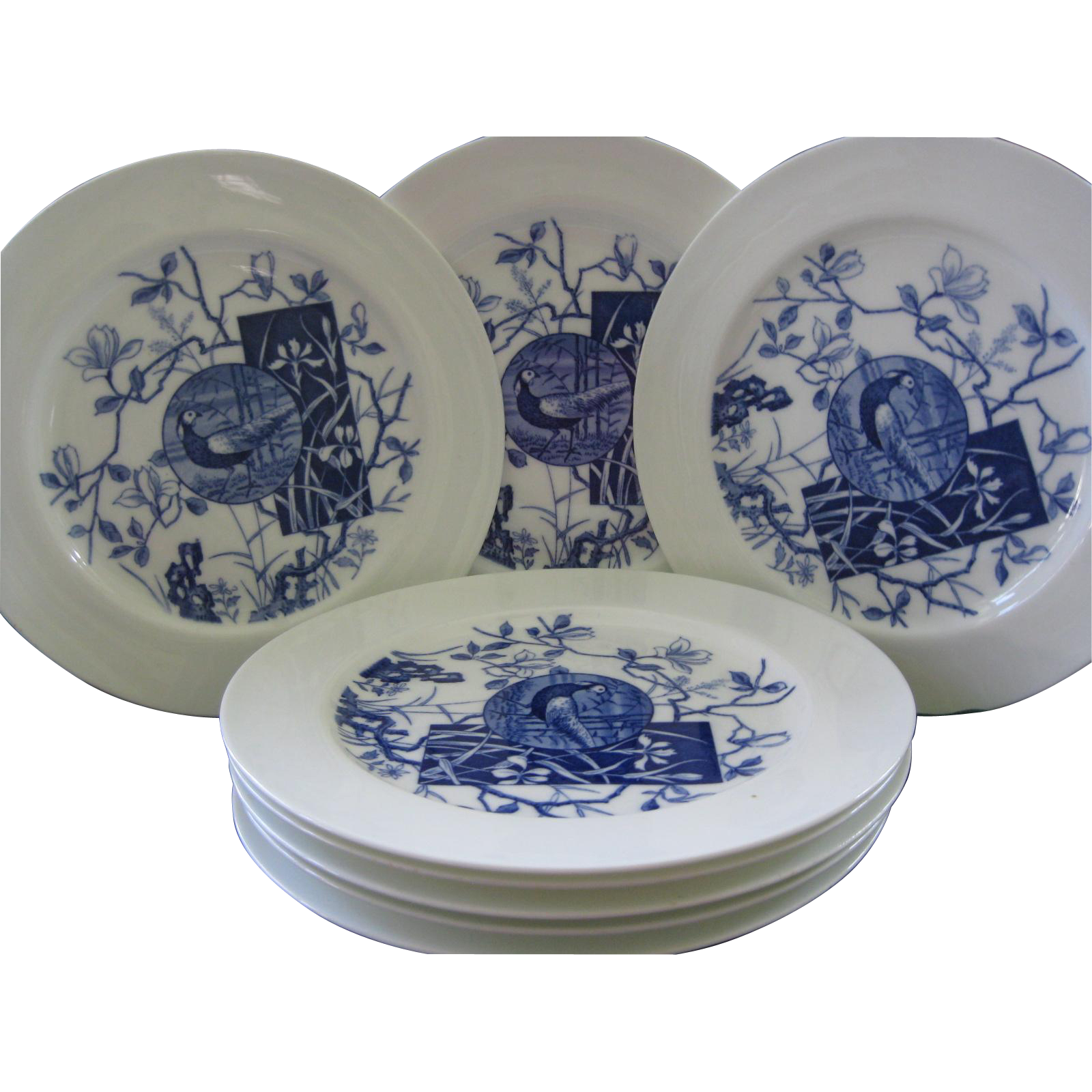 "Eight Mintons 10"" Plates, Blue Aesthetic Transferware ~ Pattern ""Faisan"""