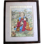 """Willy Seiler Signed Original Hand Colored Etching Print ~ """"Little Mother""""  #28 A Edition Limited"""
