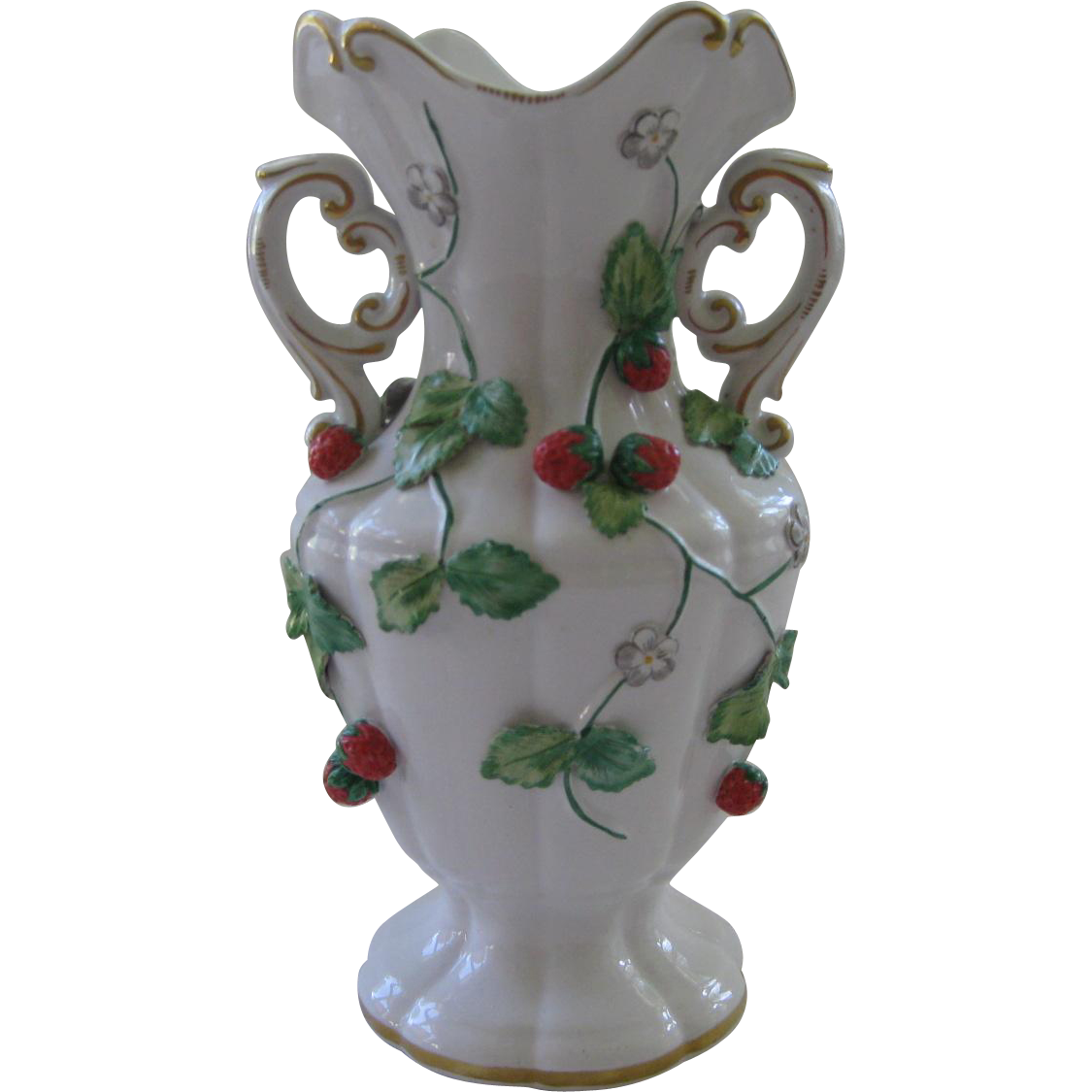 Vintage Italy Design White Vase with Applied Strawberries ~ Mottahedeh