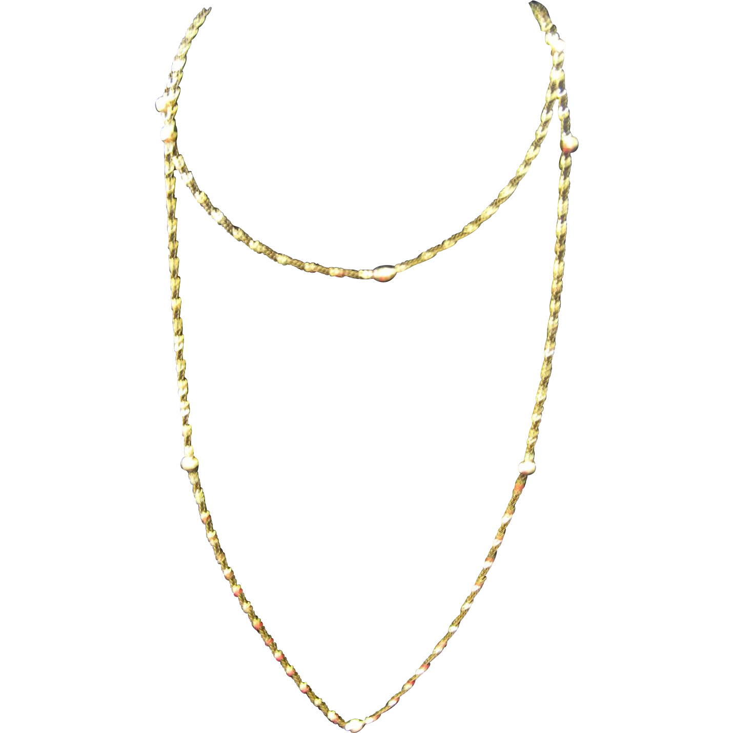"14K Gold Bead and Twisted Chain Necklace ~ 32"" Long"