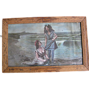 Victoria Era Chromolithograph Print of Two Young Ladies in Seaside Attire