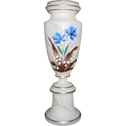 Tall Hand Painted Victorian Bristol Glass Vase