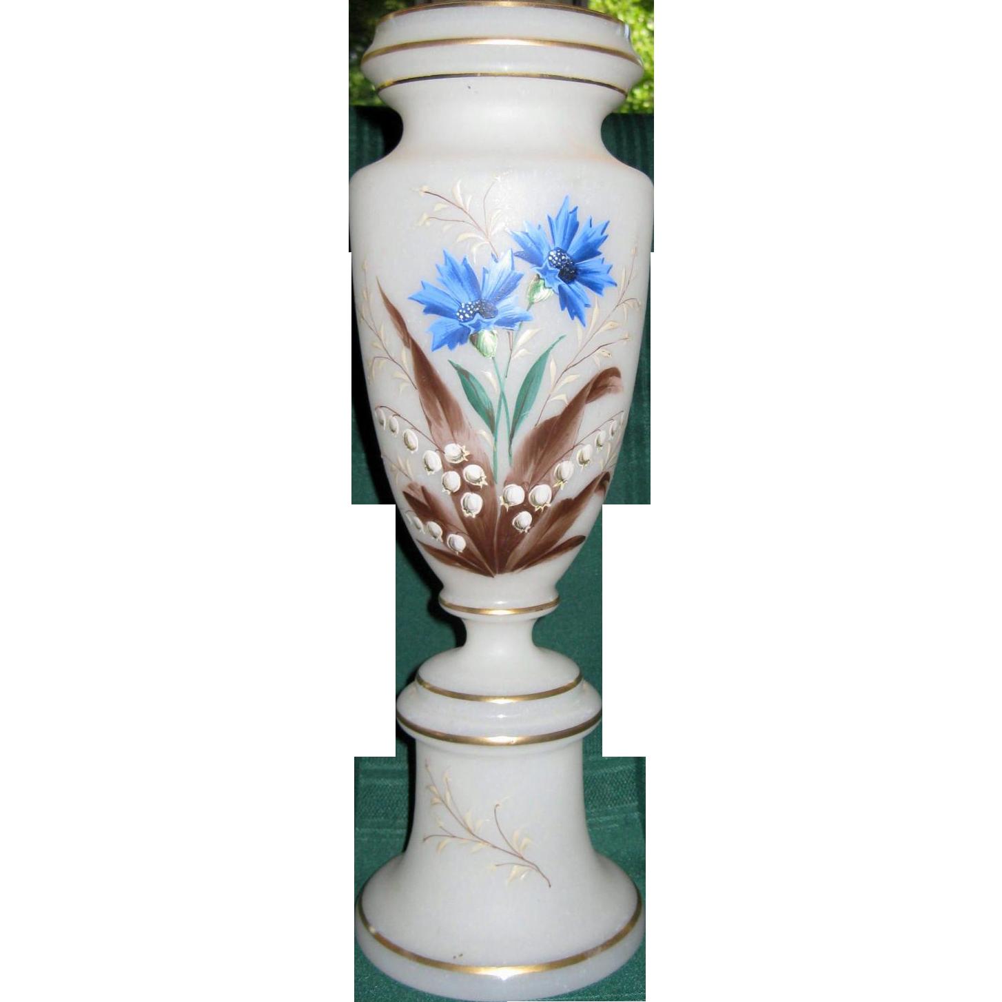 Tall Hand Painted Victorian Bristol Glass Vase
