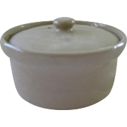 Small Tan Stoneware Pottery Covered Butter Crock