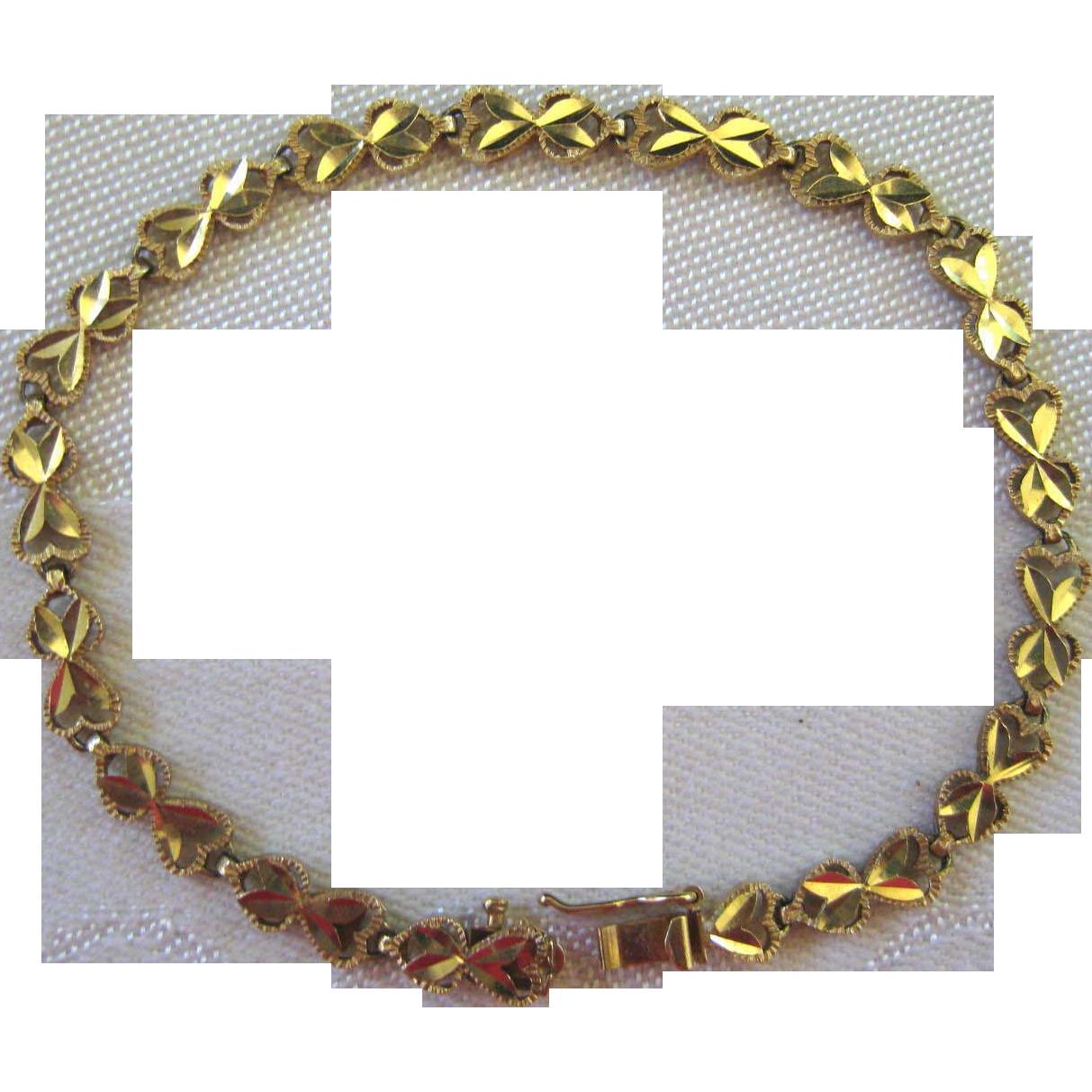 14 Karat Gold Link Bracelet ~ Heart Shape Links