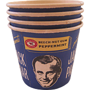 Four Jack Parr Cardboard Popcorn Tubs ~ Beech - Nut Gum Advertising