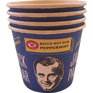 Four Jack Parr Cardboard Popcorn Tubs ~ Beech - Nut Gum Advertising