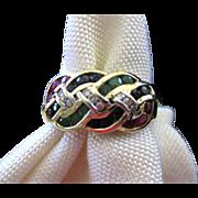 14 Karat Muticolored Stones Cocktail Ring - Sapphires, Rubies, Emeralds, Diamonds