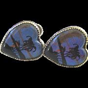 Vintage Reverse Painted Butterfly Wing Silver Earrings ~ Heart Shape