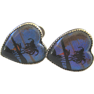 Vintage Reverse Painted Butterfly Wing Silver Earrings ~ Heart Shape