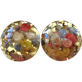 Lucite Gold Fleck with Colors Dome Confetti Earrings