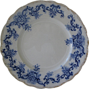 "Flow Blue 10"" Plate - Registry Number for 1897"
