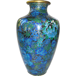 "Vintage Large 12 1/2"" Chinese Cloisonne Vase"