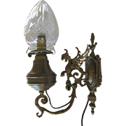 Antique Victorian Gargoyle Sconce/ Oil Lamp with Crystal Globe   circa 1800's