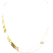 "14K Yellow Gold Herringbone Chain Necklace 16"" Length"