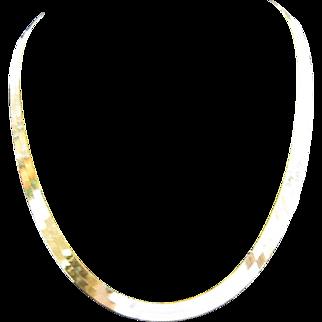 "14K Yellow Gold Herringbone Chain Necklace 16"" Length"