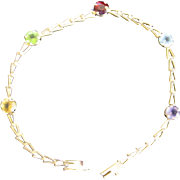 "14K Gold Chain Bracelet with Five Colored Gem Stones  7"" Lenght"