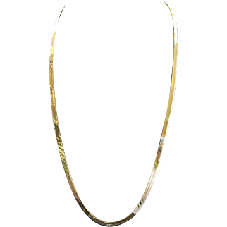 Vintage 14K Yellow Gold Herringbone Chain Necklace Length 22""