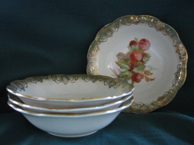 """Four Porcelain China Berry Bowls 5 1/2"""""""