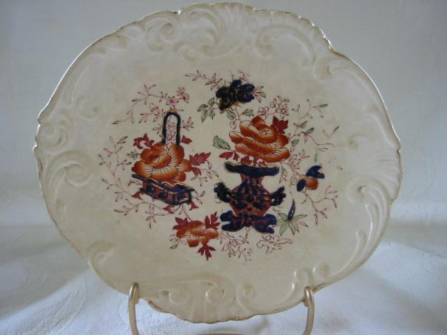 "Polychrome English Oriental Floral Oval China Dish in ""Imari"" Colors 8"" x 7"""