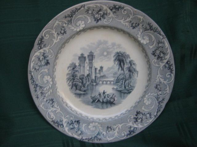 Antique Romantic Staffordshire China Transferware Plate