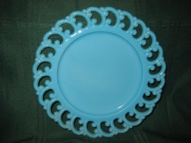"""Turquoise Gem Glass Plate 8 1/2"""""""