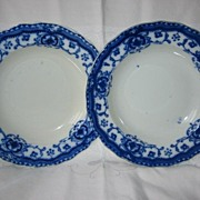 Pair of Flow Blue Bowls  Art Nouveau Design
