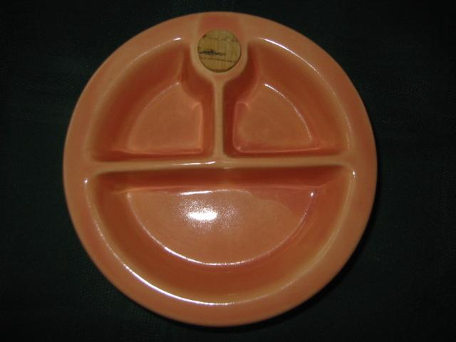 Hankscraft Pink Pottery Childs Divided Warming Dish 1940