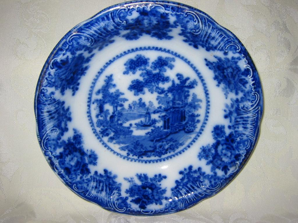 Antique Flow Blue Vegetable Bowl Romantic Landscape Scene