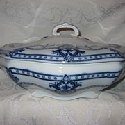 "Staffordshire Flow Blue Vegetable Lidded Dish  Adderleys  ""Lauriea"" Pattern"