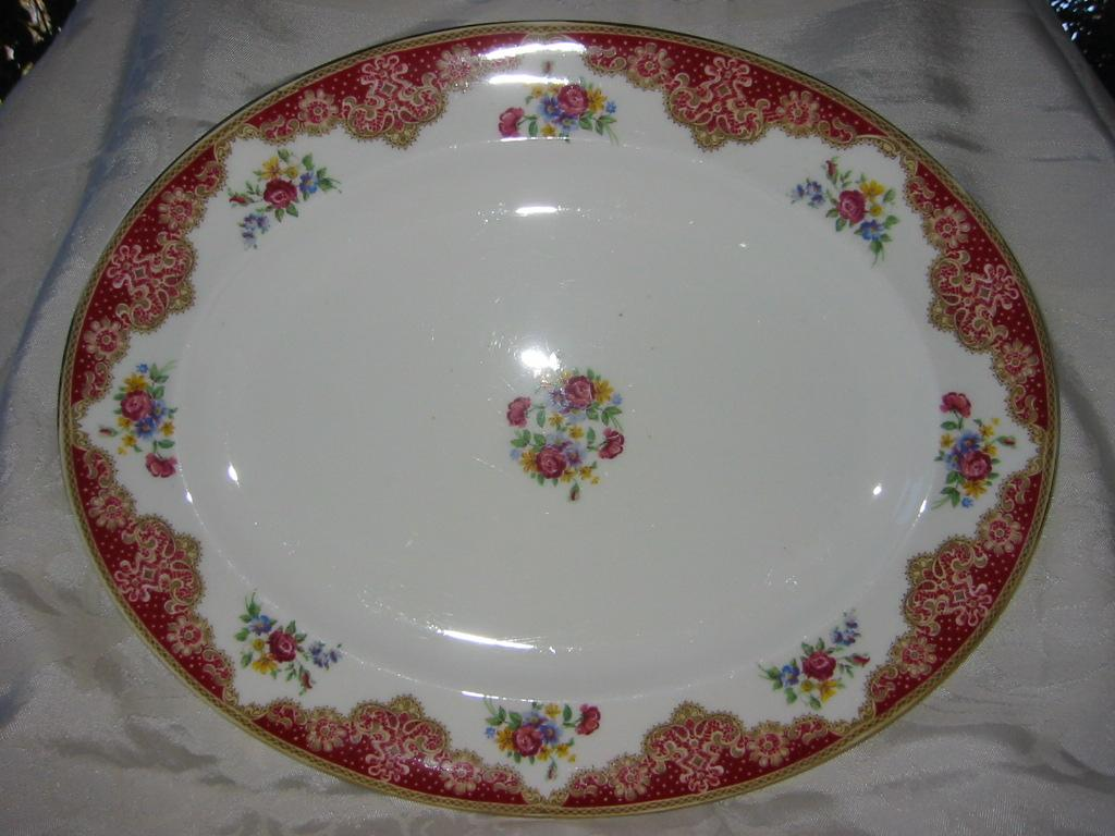 "Large Platter Red Floral  English Paragon  ""Honiton"" Pattern"
