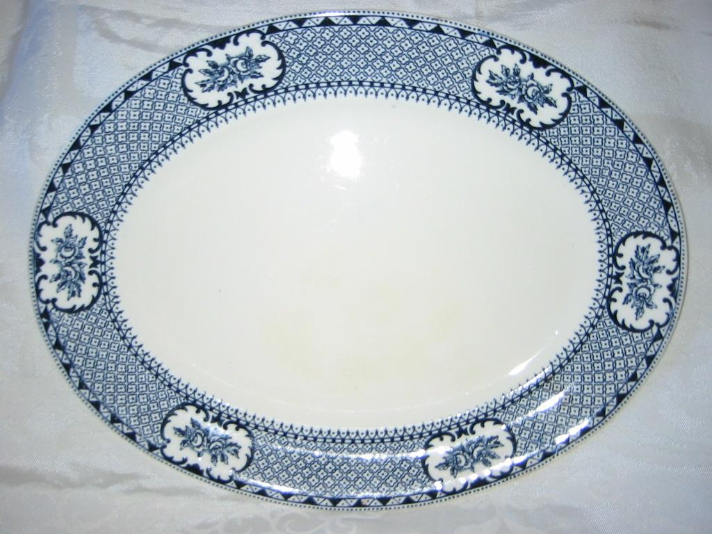 "Staffordshire  Navy Blue Regal Platter 14"" x 11""  1925-1931"