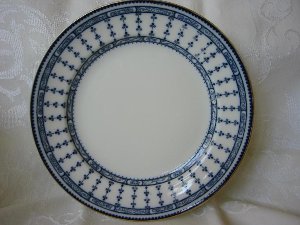 "Flow Blue Plate 9 1/2"" ( 2 )  Kneeling & Co.  Pattern ""Pompadour"""