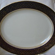 "Large English Ashworth Bros. Platter 17 1/2"" x 14""  Cobalt Blue and Gold"