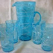 Retro Drink Set Ice Tea Blue Pitcher with Four Tumblers or Glasses from 40's 50's 60's