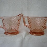 Pink Depression Glass Creamer and Sugar   Pattern Diamond Quilted   Imperial Glass Co.