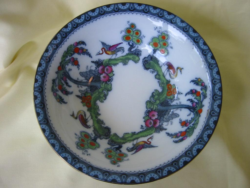 Staffordshire Polychrome Flow Blue Bowl   Keeling and Co.   Losol Ware