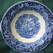 Staffordshire Blue and White Transferware Bowl   Masons    Pattern Vista