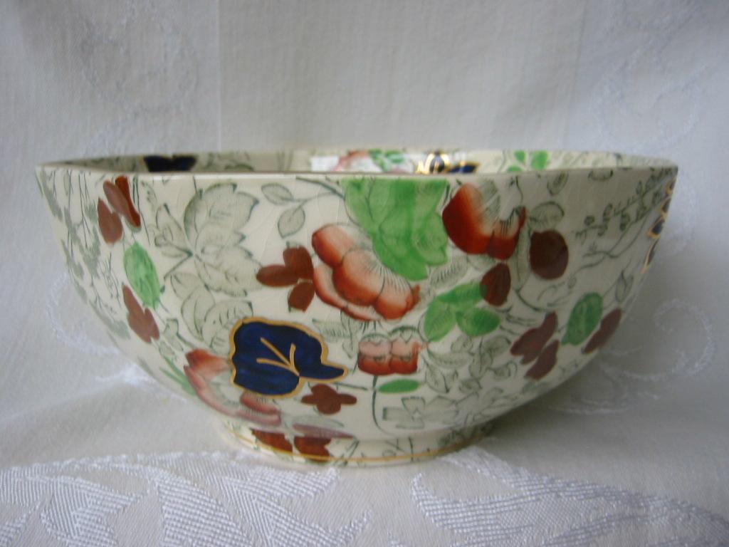 Staffordshire Polychrome Octagon Bowl   Cauldon Pottery  England